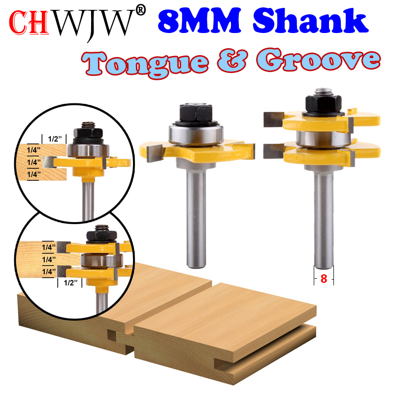 2 pc 8mm Shank high quality Tongue & Groove Joint Assembly Router Bit Set 3/4 Stock Wood Cutting Tool - Chwjw 2pcs high quality 1 4 shank tongue