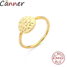 CANNER 925 Sterling Silver Rings For Women Circel Round Zircon Engagement Wedding Band Girls Couples Gifts F40