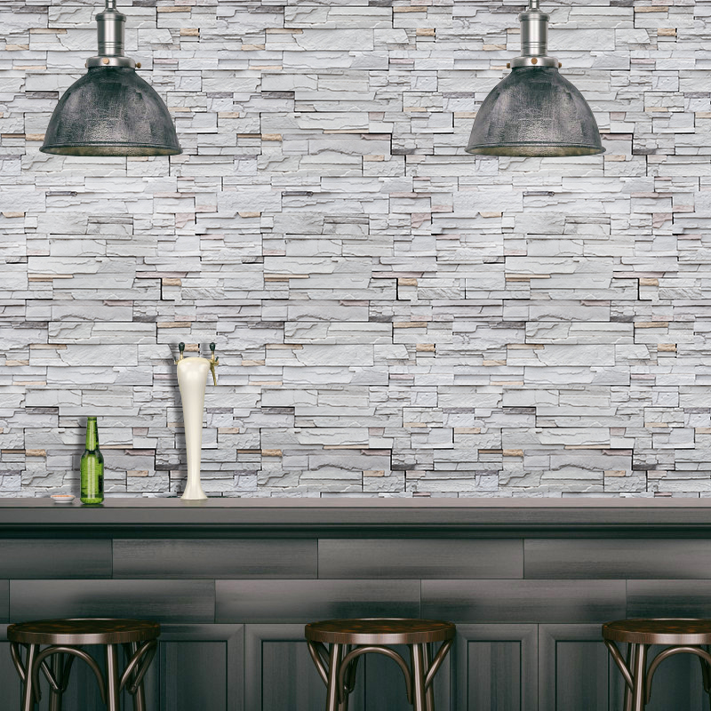 SA-1029 Home Decor 3D PVC Wood Grain Wall Stickers Paper Brick Stone Rustic Effect Self-adhesive Home Decor Sticker Room