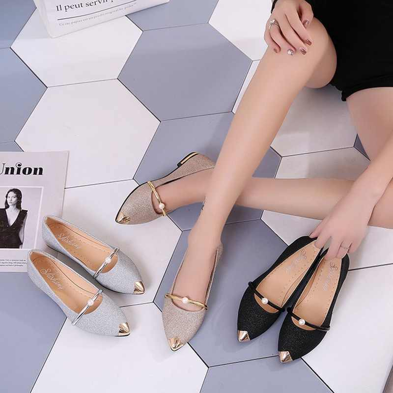 Brand 2018 Spring Auturm New Ladies Flat Shoes Elegant Women Shoes Comfortable Pointed Toe Shallow Flats Fashion Shoes Size 4-9