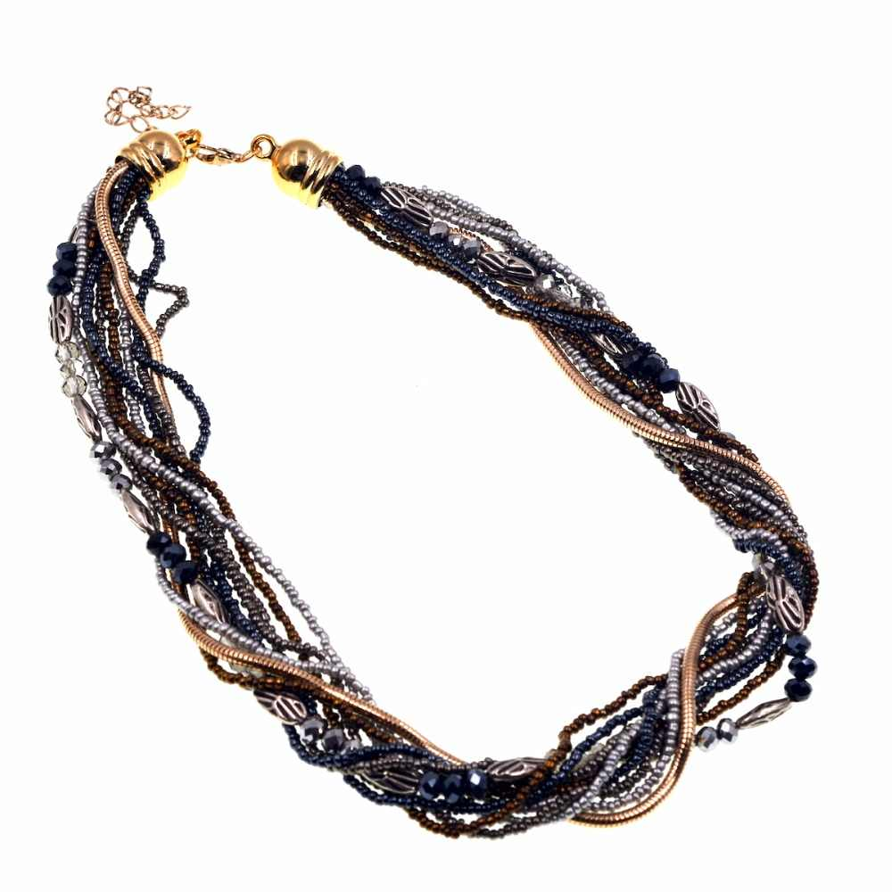Vintage Black Brown Bohemia Necklace Seed Beads Jewelry Womens Gifts