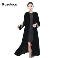 Women Vintage X long Black Velour Trench Coat Ladies Elegant Embroidery Long Sleeve Velvet Casual Open Stitch Cardigans Overcoat