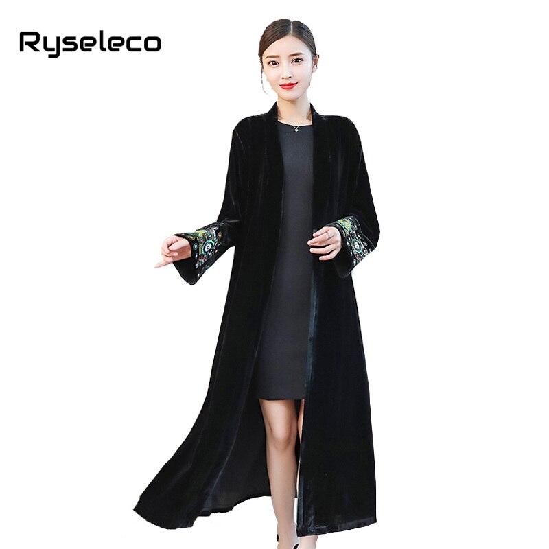 Women Vintage X-long Black Velour   Trench   Coat Ladies Elegant Embroidery Long Sleeve Velvet Casual Open Stitch Cardigans Overcoat