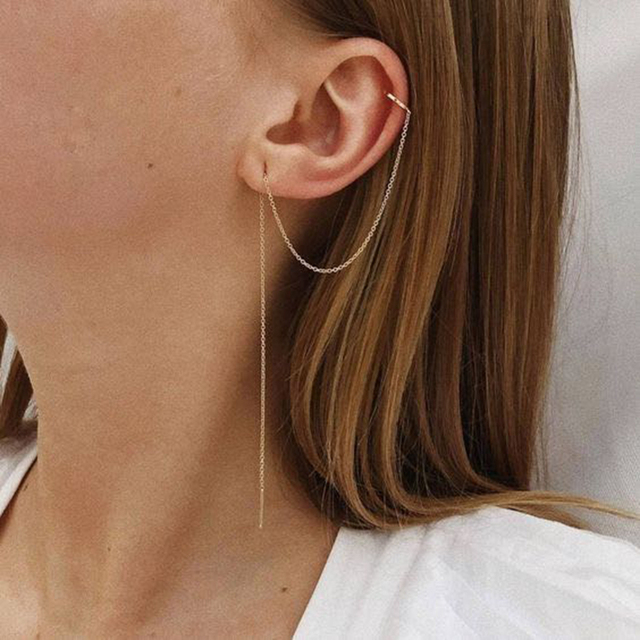 Minimalist Banded Chain Cuff Earring