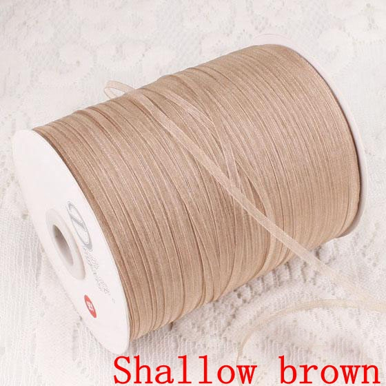 1000yards Free shipping 3mm width Wholesale Lace transparent yarn Sheer organza ribbon webbing, Shallow brown color 008006003