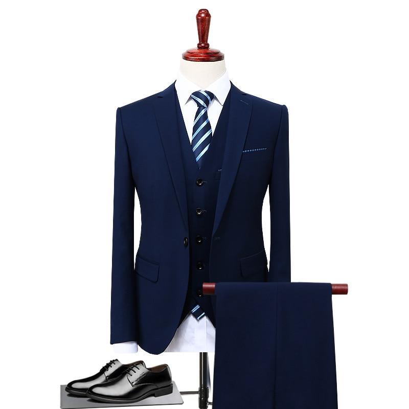 ( Jacket+Vest+Pants ) 2019 Mens Fashion Boutique Pure Color Groom Wedding Dress Suits Men Slim Business Suits Pure Cotton Blazer