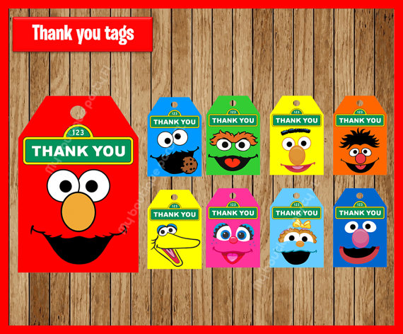 Elmo Favor TagsSesame Street Thank You Tags Gift Favors Birthday Party Decorations Kids Supplies