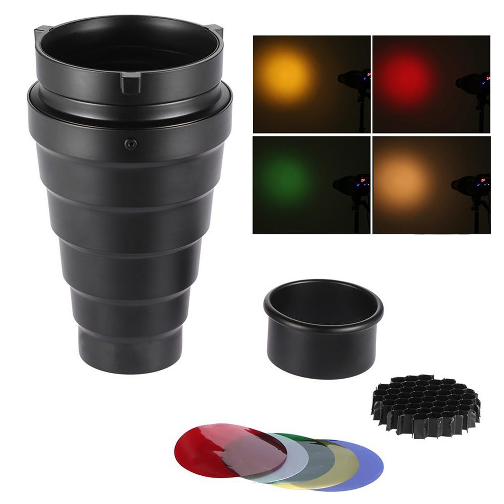 Hot Flash Conical Snoot With Honeycomb Grid Color Filter Kit For Bowens Mount Studio