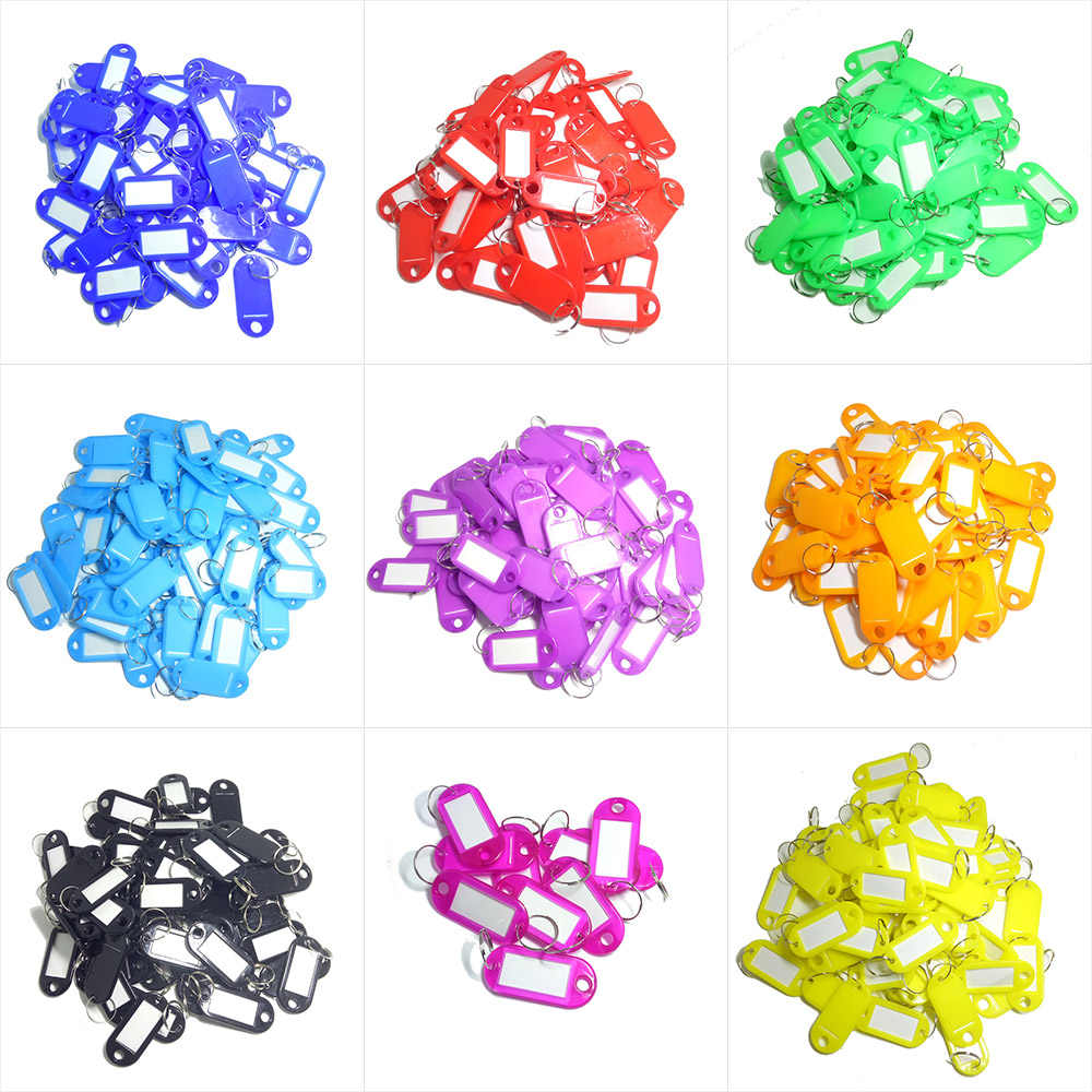100 X Coloured Plastic Key Fobs Luggage ID Tags Labels Key rings with Name Cards, For Many Uses - Bunches Of Keys, Luggage
