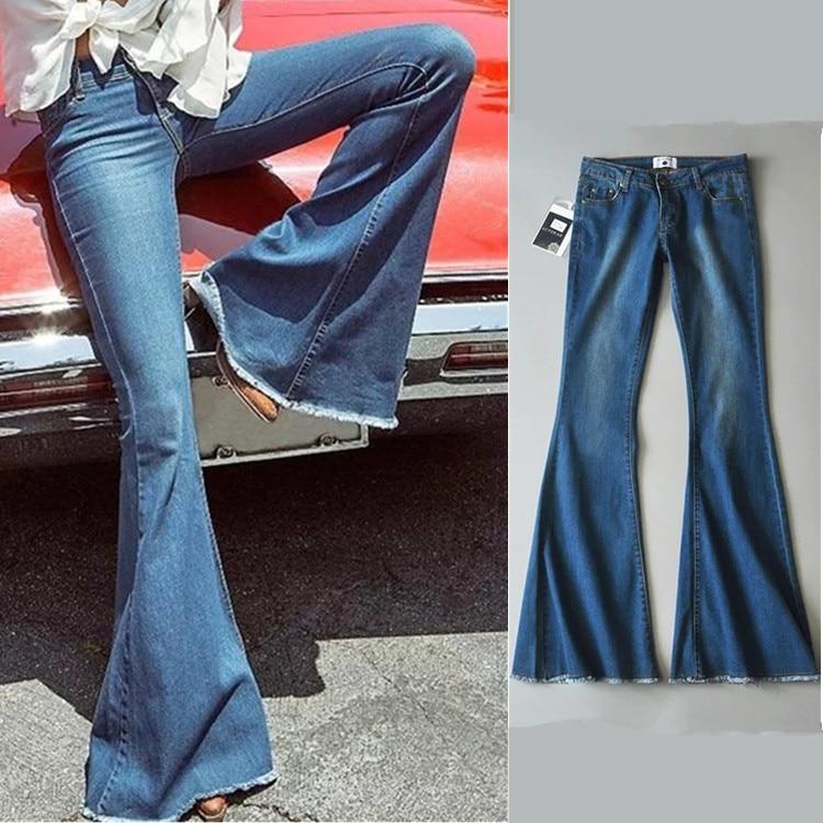 2017 Vintage Low Waist Elastic Flare Jeans Women Retro Style Bell Bottom Skinny Jeans Female Dark Blue Wide Leg Denim Pants цены онлайн