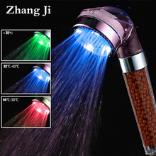 SPA 3 Colors LED Shower Head Temperature Sensor Light Water Flow Generator Shower Head Water Saving Filter bathroom fixture ZJ82