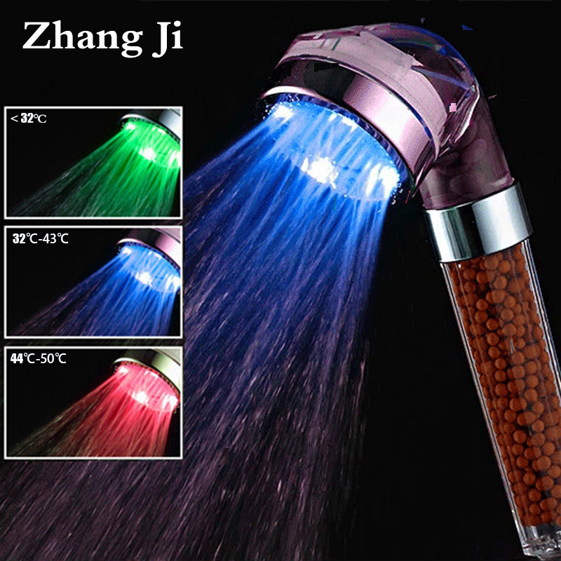 Zhang Ji SPA 3 Colors LED Shower Head Temperature Sensor Light Water Flow Generator Shower Head Water Saving Filter Bath Fixture