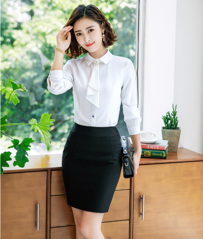 42fccacbc79b sets Uniform Tragen Top 2 Frauen Formale Styles Blusenamp; Weiß Büro ...
