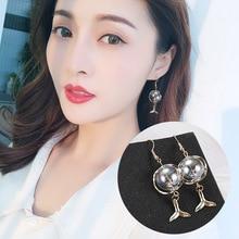 2019 New Korea Ins Mermaid Tear Bubble Colorful Glass Ball Fishtail Earrings Design