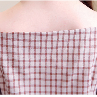 New Women's Patchwork Blouses Shirt Long Lantern Sleeve Slash Neck Off Shoulders Single Breasted Tops Casual Fashion T91501J 6