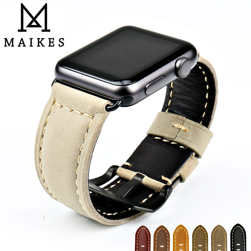 MAIKES Fashion watch bands genuine leather watchband watches bracelet belt for Apple Watch 42mm 38mm series 2 1 iwatch accessory kakapi crocodile skin genuine leather watchband with connector for apple watch 38mm series 2 series 1 pink