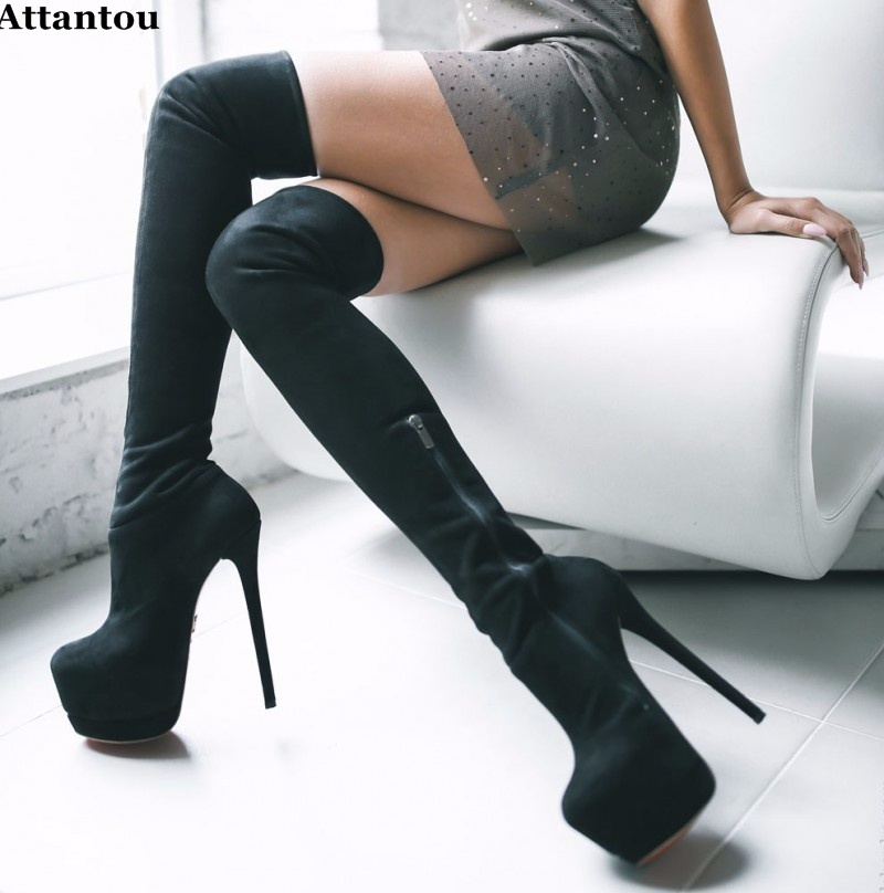 Sexy Black Thigh Boots