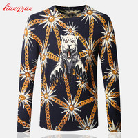 Men Knitwear Sweater Spring Autumn Winter Tiger Printed O-Neck Pullover Brand Casual Thin Slim Fit Warm Cashmere Sweater SL-121