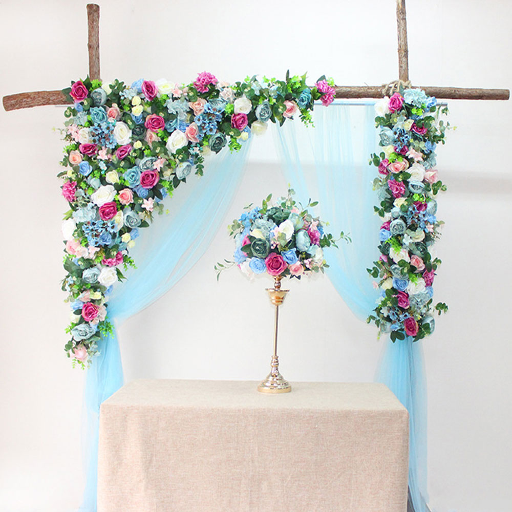 Flor pared 120cm estilo europeo DIY boda escenario decoración flor artificial pared Arco seda Rosa planta mezcla diseño decoración - 4