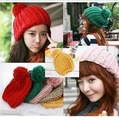 Hot Sale Candy Color Pineapple Hat For Women Knitted Wool Female  Beanies Gorros 12 Colors Free shipping