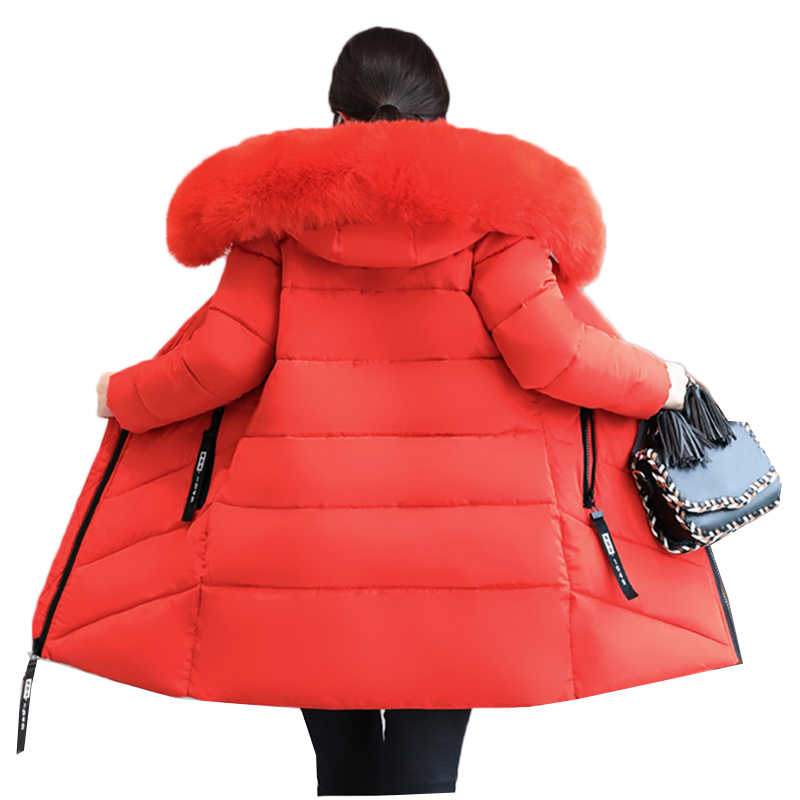 Plus Size 6XL 2019 Women Winter Large Fur Hooded Parkas Female Thick Warm Cotton Coat Women Wadded Winter Jackets Outwear