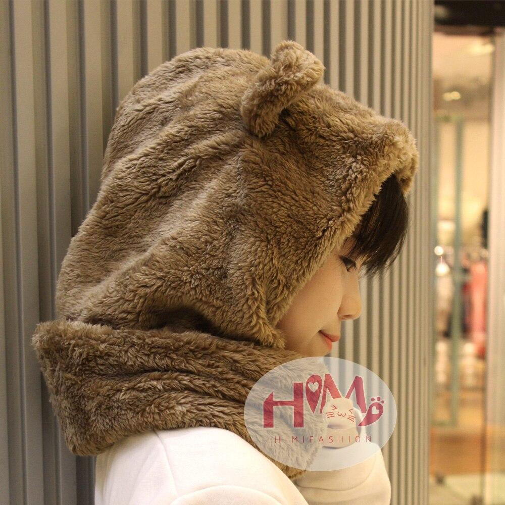 Musim dingin Tutup Kepala Hangat Feminin Tebal Kain Lucu Beruang Telinga  Berbulu Topi Skullies Beanies Pria c2bb275ddc