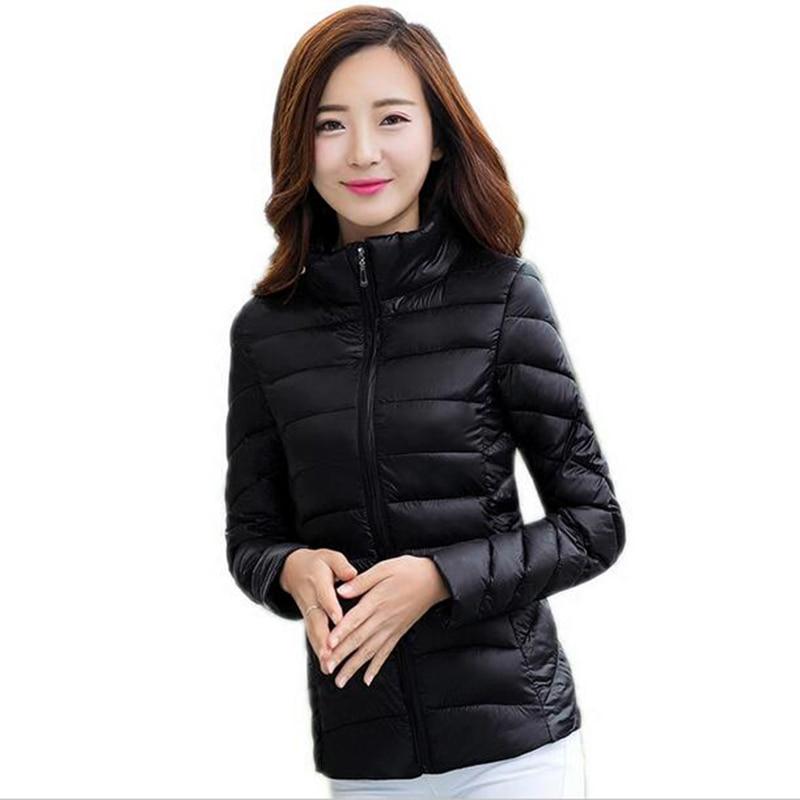 female short design thin stand collar cotton-padded jacket 2017 all-match Slim plus size autumn winter Cute girls Coat female 30