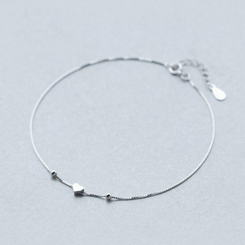 925 Sterling Silver Romantic Small Heart Charm Anklet For Women S925 Ankle Bracelet Adjustable Length