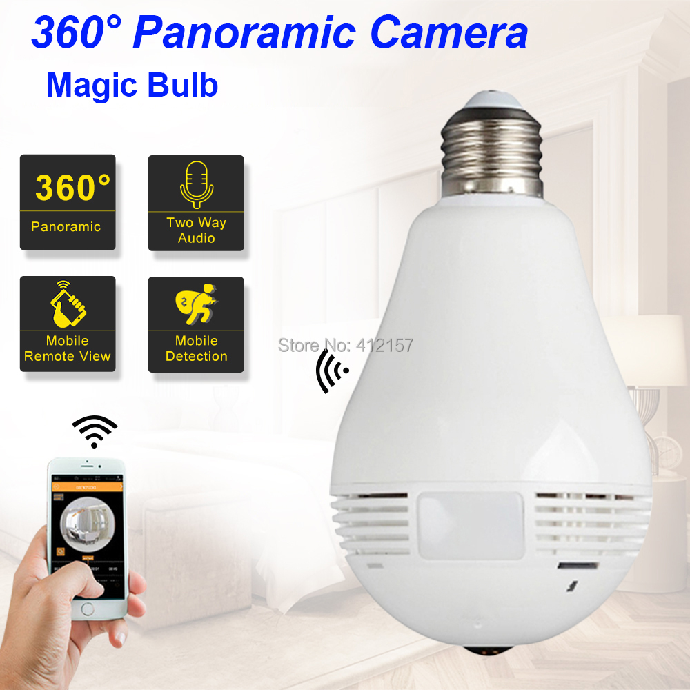 Fayele Wireless WIFI IP Camera Magic Bulb Light Security Fisheye 360 VR Panoramic Camera HD 960P 2 Way Audio P2P Mobile View SD light bulb camera vr 360 degrees wifi3d fisheye panoramic light camera network led