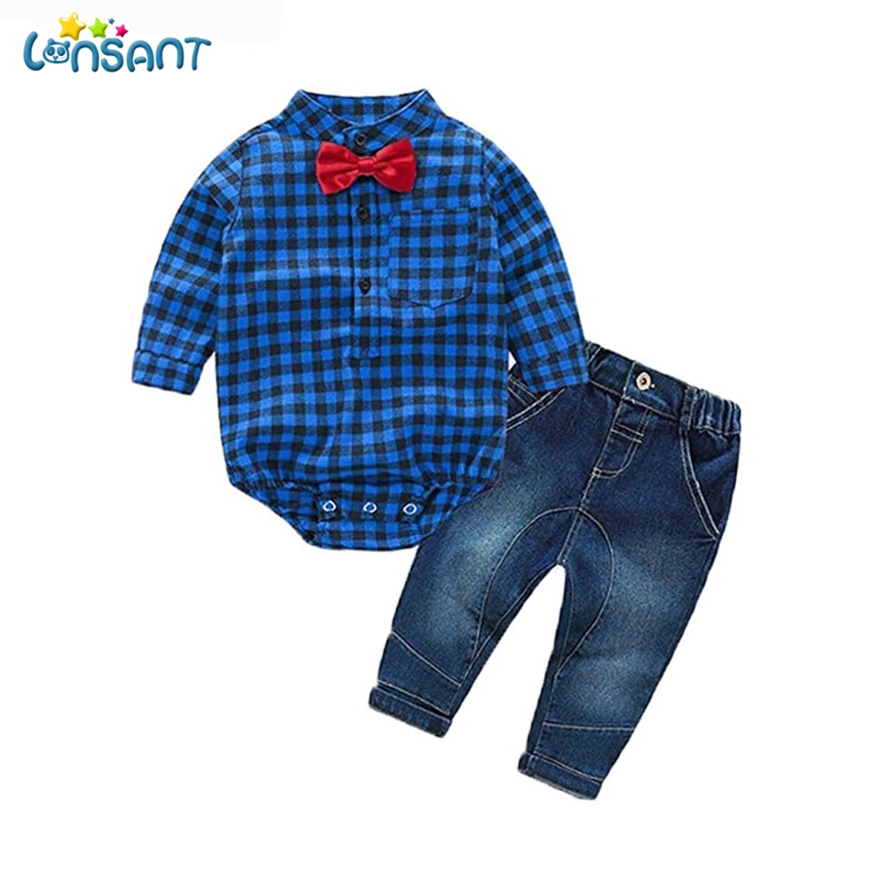 LONSANT 2018 Children Set Kids Baby Boy Clothes Sets Gentleman Rompers Pants Suit Long Sleeve Baby Boy Clothes Set Dropshipping baby set baby boy clothes 2 pieces