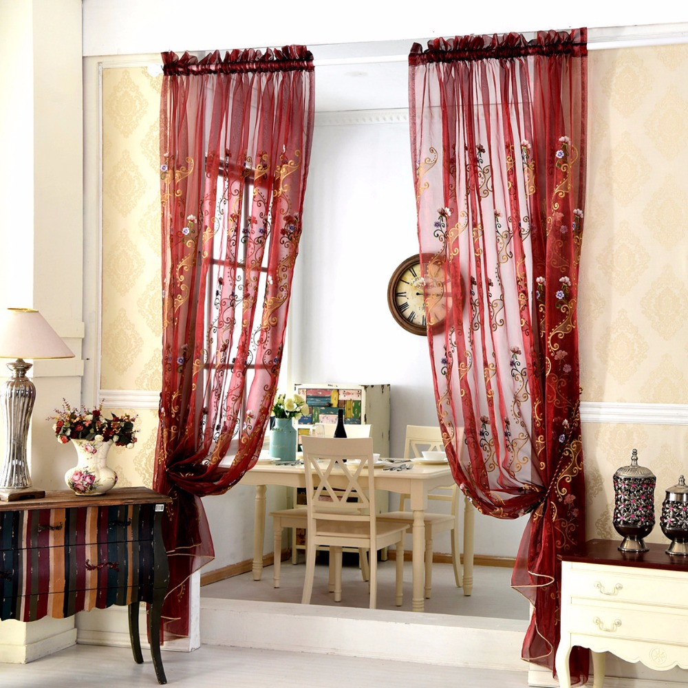 White Embroidered Curtains Sheer Curtains for Living Room blue curtains red  curtains Shade Tulle fabric for. Online Buy Wholesale blue red curtains from China blue red