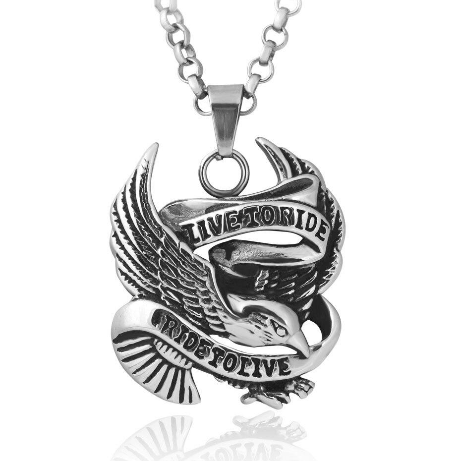 Men's Gold Color Punk Biker Eagle Pendants Necklace