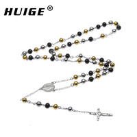 Hip Hop Gold Black Silver Tone Stainless Steel Bead Chain Jesus Christ Cross Pendant Rosary