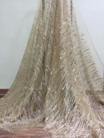 feather Lace Fabric With sequins Embroidery Tulle Lace French Lace Fabric African Materials For Wedding