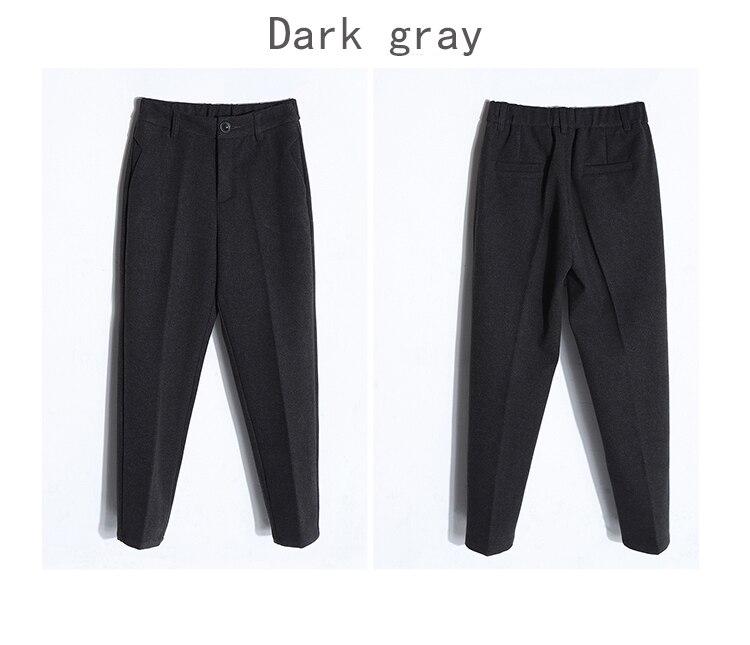 19 Autumn New Women Elastic Woolen Pant Female Plus Size Casual Trousers Black/Gray Harem Pants Winter Wool Ankle-Length Pants 41