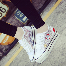 Fashion 2016 Causal women Lace ShoesPlatform Height Increasing Women Flats Shoes Rhinestone High Heels Shoes Free Shipping