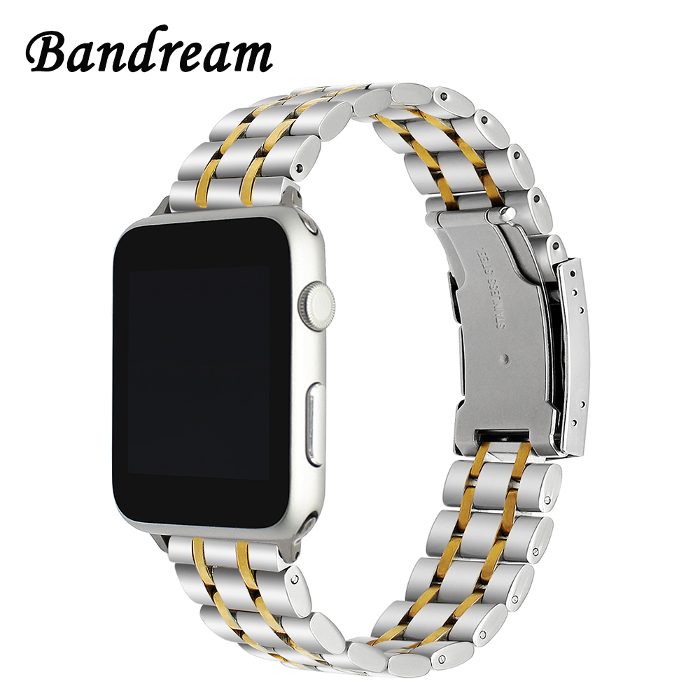 316L Stainless Steel Watchband for iWatch Apple Watch 38mm 42mm Series 3 2 1 Band Wrist Strap Link Bracelet Silver Gold Black top quality new stainless steel strap 18mm 13mm flat straight end metal bracelet watch band silver gold watchband for brand