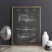 Impresión de patente de avión, ilustraciones de avión, carteles de arte de pared de aviación, decoración de habitación, Impresión de azul Vintage, pintura en lienzo, imagen de regalo, idea