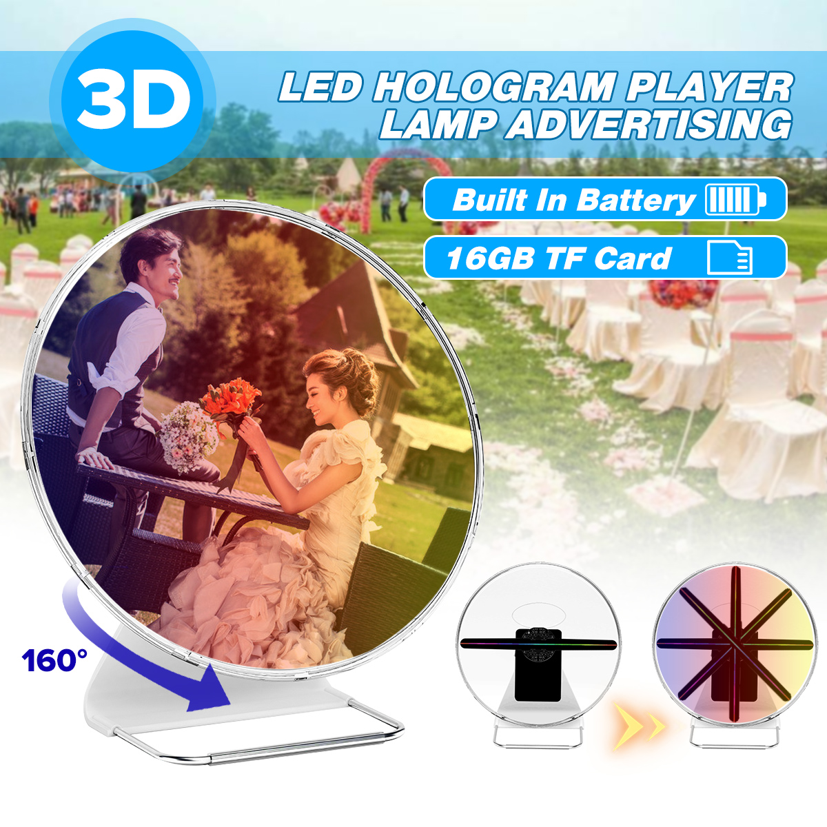 Portable 30CM 3D Holographic Projector With Battery Hologram Player LED Display Fan Advertising Light APP Control image