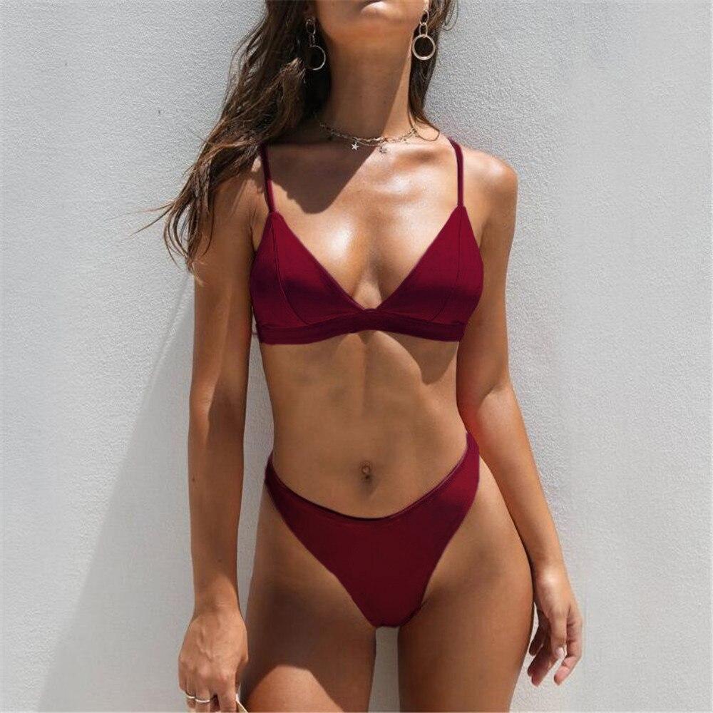 HTB126YukHArBKNjSZFLq6A dVXaB MUQGEW 2019 Mid Waist New Summer Women Two Pieces Bikini Set Solid High Quality Padded Push Up Swimwear Brazilian Bikini #1210