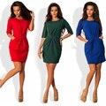 2017 Весенняя Мода Новая Горячая Женщины Половина рукава О-Образным Вырезом Dress повседневная Сплошной Цвет Синий Красный Зеленый Туника Тонкий платья Плюс размер