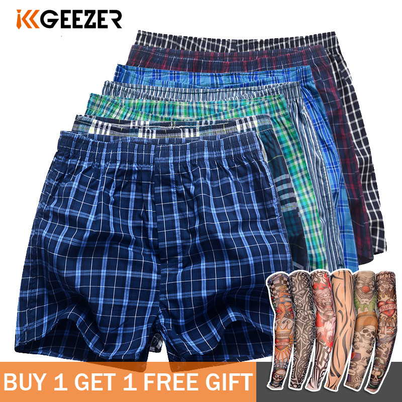 Men Boxer Plaid Underpants Cotton Underwear Fashion Sexy Male Sleep Bottoms Shorts Brand Top Quality Breathable Loose Homewear