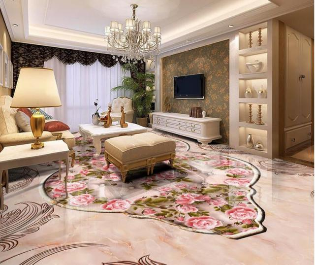 Buy 3d floor tiles custom wallpaper for Living room 3d tiles