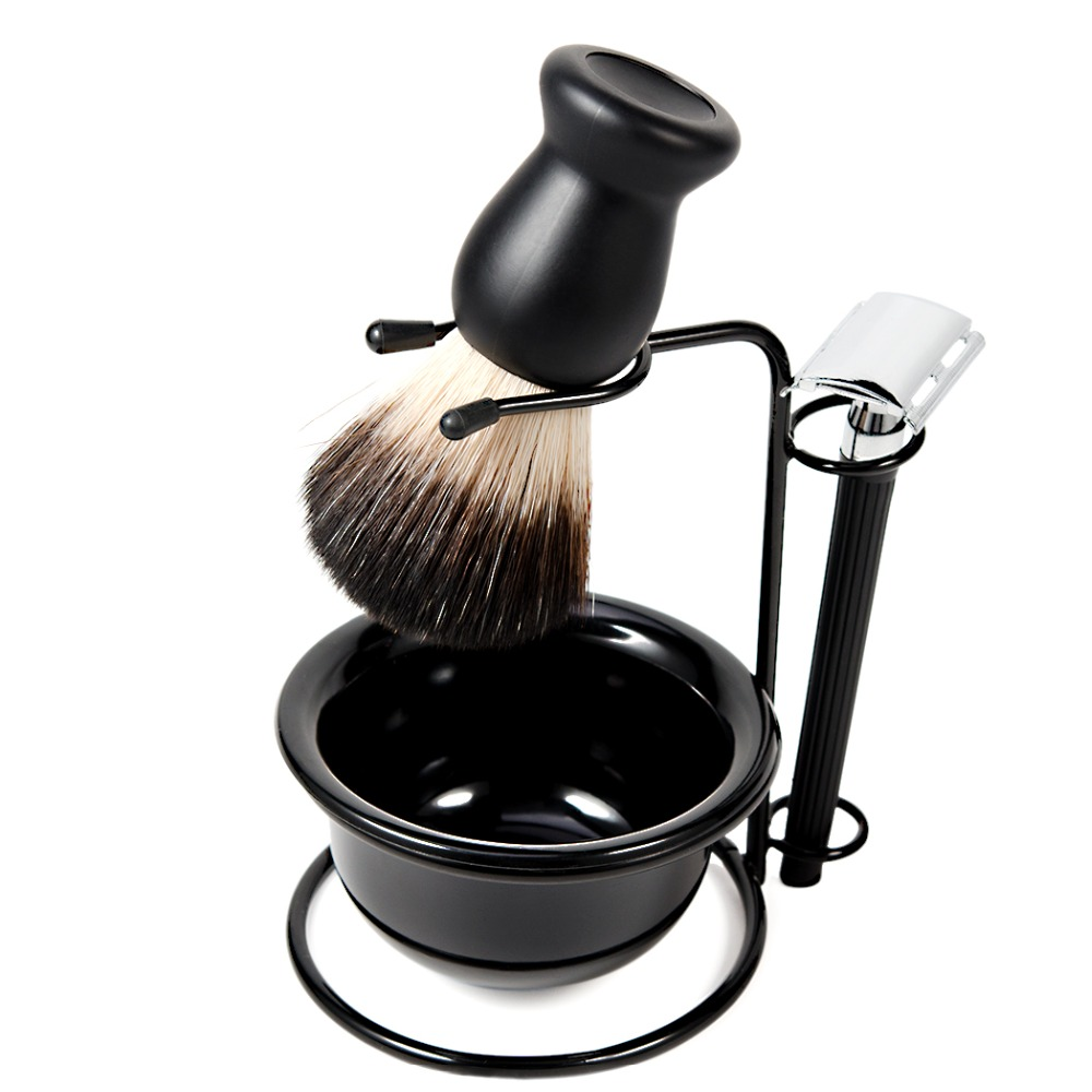 Grandslam 5in1 Shaving Brush Kit Manual Safety Razor Set Razors Holder Stand +Synthetic Shaving Brush + Soap Bowl Cream+ Blades