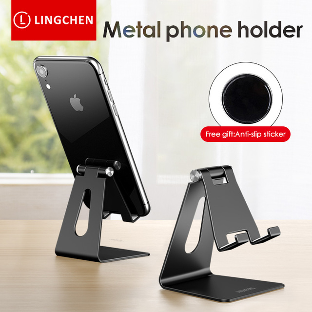 LINGCHEN Phone Holder Stand for iPhone 11 Xiaomi mi 9 Metal Phone Holder Foldable Mobile Phone Stand Desk For iPhone 7 8 X XS 4