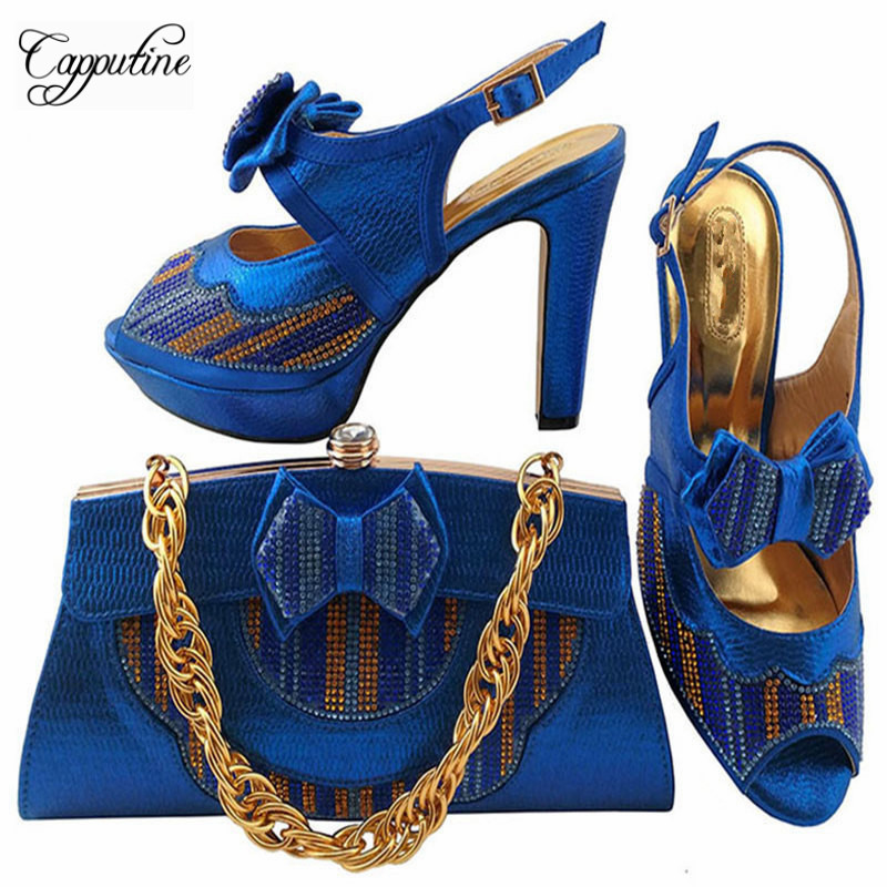 African Desgin Rhinestone High Heel Shoes And Bag Set For New Summer Style Elegant Shoes And Bag Sets Free Shipping MM10381 doershow african shoes and bags fashion italian matching shoes and bag set nigerian high heels for wedding dress puw1 19