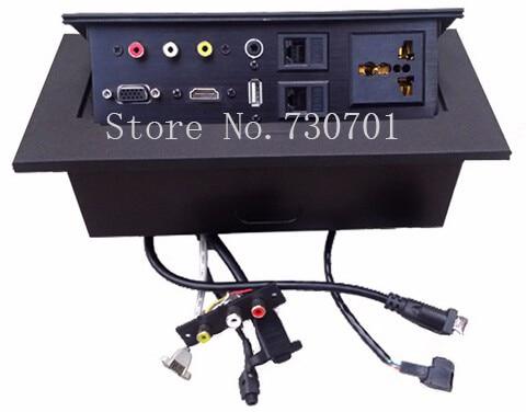 цена на Bulk 3PIN POWER 1VGA 1 HDMI 1 USB 1 DOUBLE AUDIO 2 DATA POPUP SOCKET Thick edge right angle/Thin edge fillet free shipping