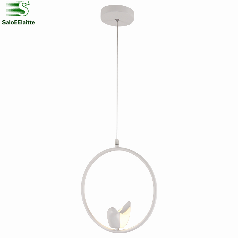 Nordic 3D 6W Bird Round Metal Led Pendant Lights Lustre White Hanging Luminarias Led Suspend Lamp Lighting Fixtures for Dining 6w nordic modern bird led pendant light dining room bar minimalism led hanging light lustre luminaria led suspend lamp