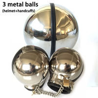 Adult Game Stainless Steel Bondage Set Metal Ball Hand Cuff Neck Collar Slave BDSM Restraints Sex Toys For Couples Handcuffs