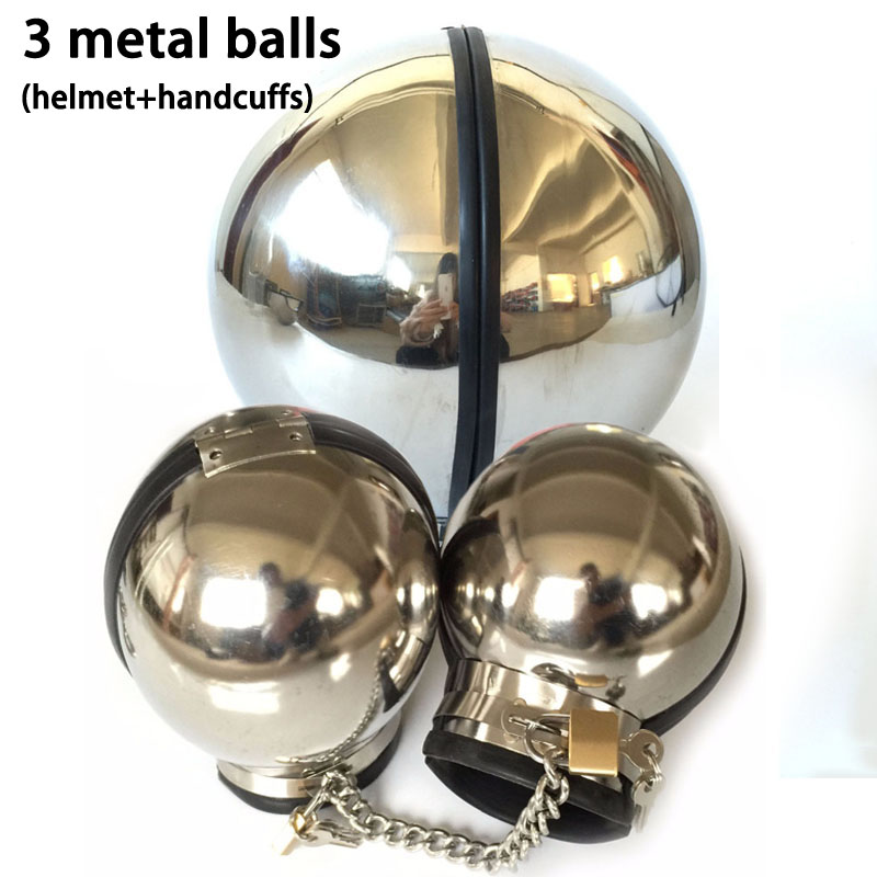 Adult Game Stainless Steel Bondage Set Metal Ball Hand Cuff Neck Collar Slave BDSM Restraints Sex Toys For Couples Handcuffs tri fidget hand spinner triangle metal finger focus toy adhd autism kids adult toys finger spinner toys gags